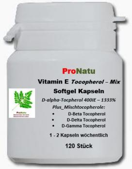 ProNatu 120 Vitamin E softgels 400 IU (Tocopherol - Mix)