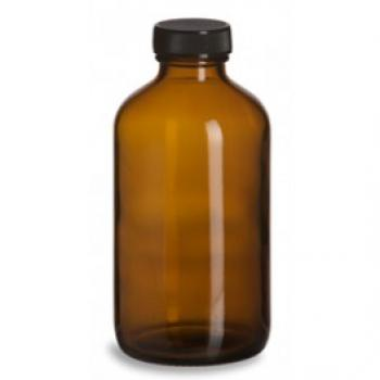 Pharmaz. Brown glass bottle with plastic screw cap
